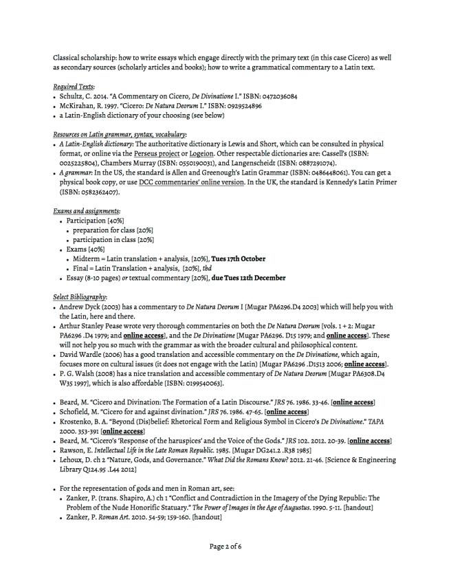 CL 351 syllabus Cicero De Nat Deor De Div p2